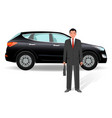businessman on a luxury crossover car background vector image vector image