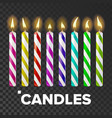 candles set cake fire light lit wick vector image vector image