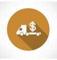 car truck with money icon vector image vector image