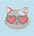 cat with heart sunglasses vector image