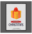 christmas card with giftbox vector image vector image