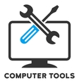 Computer Tools Flat Icon with Caption vector image