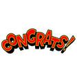 congrats word comic book pop art vector image vector image