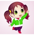 Cute anime chibi little girl trying to take vector image vector image