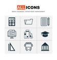 education icons set with e-learning rulers vector image