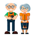 elegant trendy smiling old woman and old man vector image vector image