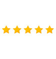 five star 5 gold stars for review and rating vector image vector image
