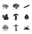 Forest set icons in black style Big collection of vector image