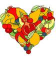 Fruit Love Heart Ornament vector image