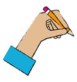 hand human with pencil writing isolated icon vector image vector image