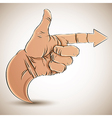 Hand with pointing finger and arrow vector image vector image