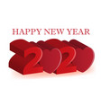 happy 2020 new year 3d red love heart party vector image vector image