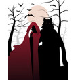 little red riding hood and wolf in the woods vector image