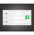 login interface - username email and passw vector image vector image