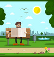 man on bench in city park flat design cartoon vector image vector image