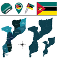 Mozambique map with named divisions vector image vector image
