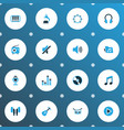 multimedia icons colored set with barrel earmuff vector image vector image