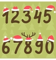 numbers from zero to nine with Santa hats vector image