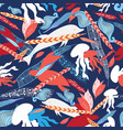 pattern sea creatures vector image vector image