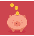Piggy Bank in Red Background vector image vector image