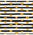 seamless pattern gold hearts vector image