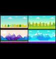 set of 4 cartoon nature backgrounds and landscapes vector image vector image