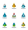 set of abstract Christmas tree logo icons vector image