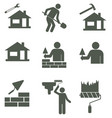 set of mason worker icons vector image