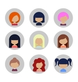 Set of Women Faces Icons in Flat Design vector image vector image