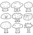 set trees cartoon vector image vector image