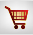 Shopping cart sign red icon on gold