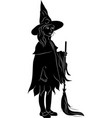 silhouette of a witch with a broomstick vector image