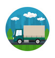 small covered truck on the road icon vector image