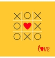 Tic tac toe game with cross and red heart sign vector image vector image