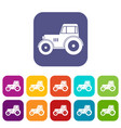 tractor icons set flat vector image vector image
