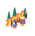 traditional xmas party isometric colorful vector image