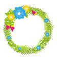tropical floral wreath with butterflies and blooms vector image vector image