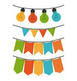 white background with set of party festoon and vector image vector image