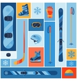 Winter sports background with equipment flat icons vector image