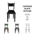 wooden chair icon in cartoon style isolated on vector image vector image