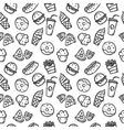 seamless pattern with fast food objects vector image