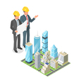 3d isometric concept of businessman or engeneer in vector image