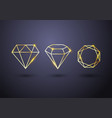 abstract set luxury gold diamond outlined shape vector image