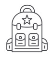backpack thin line icon camping and travel bag vector image vector image