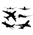 black silhouettes of passenger aircraft vector image vector image