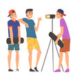 boy skateboarders bloggers streaming online vector image