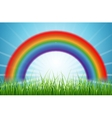 Bright rainbow blue sky with rising sun and green vector image vector image