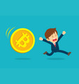 businessman running are sad at the bitcoin price vector image vector image