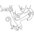 cartoon happy monkey hanging and holding banana vector image vector image