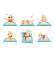 cute happy badaily routine set adorable kid vector image vector image